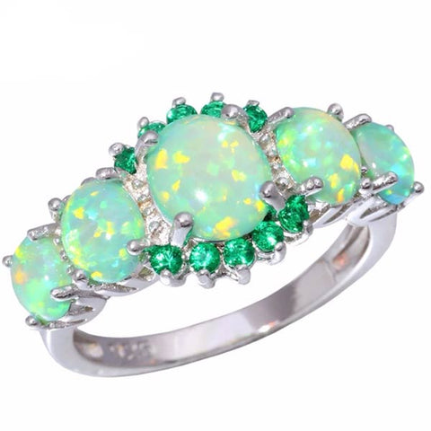 Divine Green Fire Opal Gemstone Ring