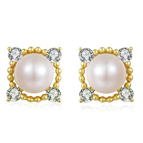 Gold Plated Stud Earrings from Natural Freshwater Pearls
