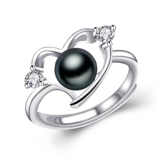 Heart Silver Ring with Natural Black Freshwater Pearl