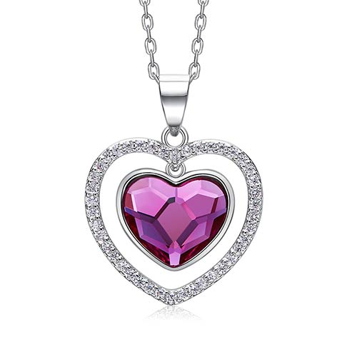 Silver Necklace Embellished with Swarovski Heart Crystal