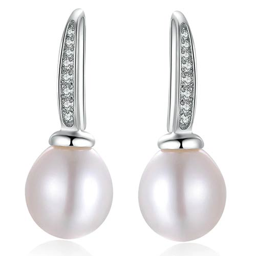 White Natural Freshwater Round Drop Pearl Earrings