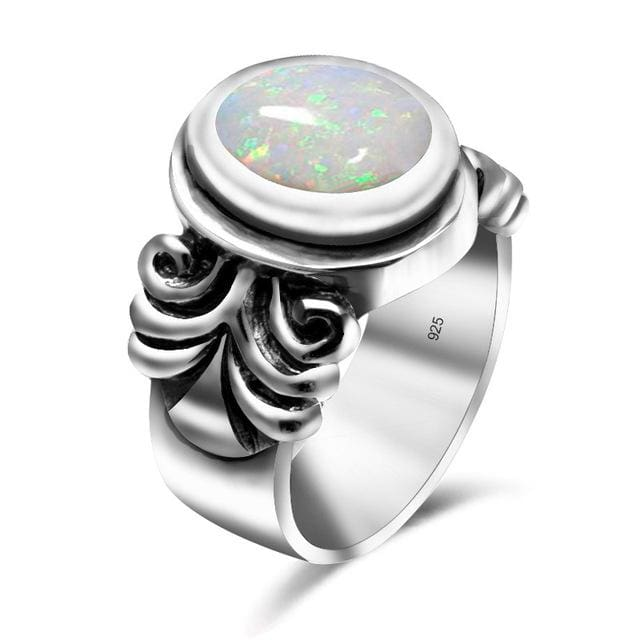 Antique Silver White Fire Opal Gemstone Ring For Women - 10 / White - Ring