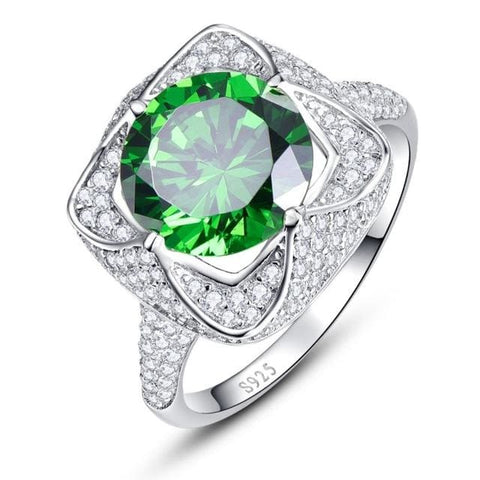 Beautiful Round Cut 6.5 Carat Emerald Ring With Zircons For Women - 6 / 925 Silver Ring - Ring