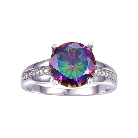 Beautiful Round Cut Fire Mystic Topaz 6.3 Ct Gemstone Ring For Women - Ring