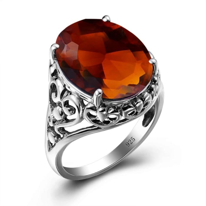 Big Oval Vintage Ring With 12.6 Carat Brown Amber Gemstone For Women - Ring