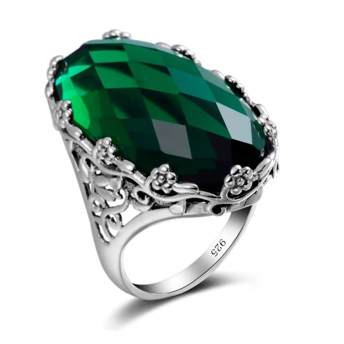 Big Vintage Oval Green Emerald Gemstone Ring For Women - Ring