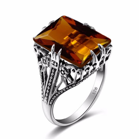 Bohemian Square Shaped Vintage Brown Amber Gemstone Ring For Women - Ring