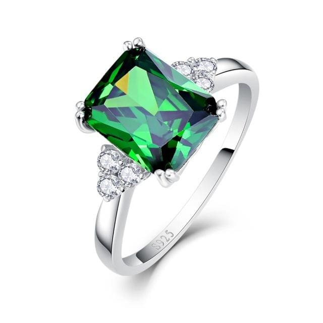 Classic Square 5.7 Carat Green Emerald Ring For Women - 6 / 925 Silver Ring - Ring
