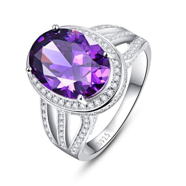 Cocktail Vintage Natural Round Amethyst Ring For Women - 6 / 925 Silver Ring - Ring