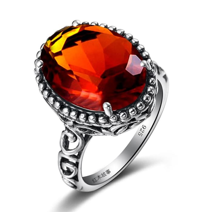 Coral Vintage Brown Amber Gemstone Ring For Women - Ring