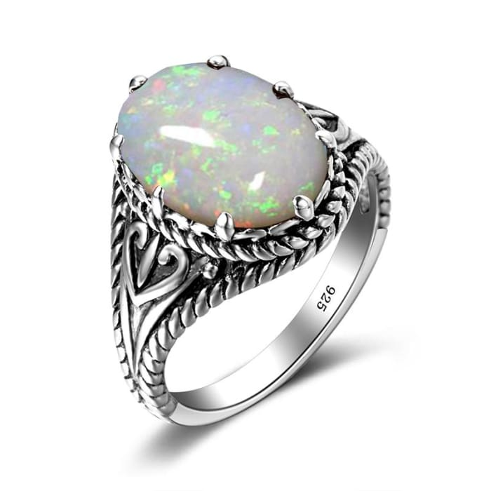 Egg Shape Big White Fire Opal Gemstone Ring - Ring