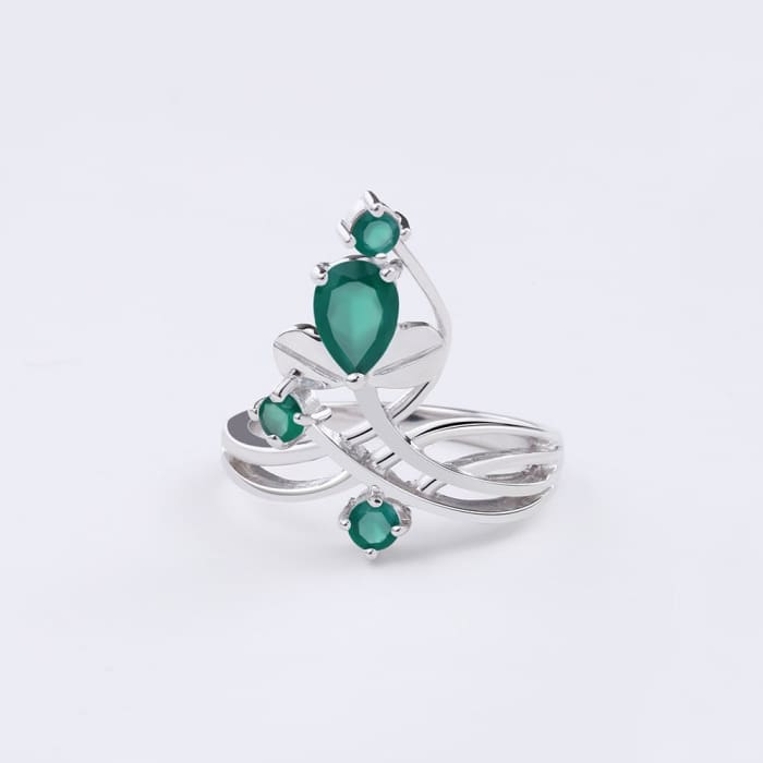 Flower Green Agate Gemstone Ring For Women - Ring