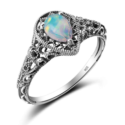 Handmade Water Drop White Fire Opal Gemstone Ring For Women - Ring