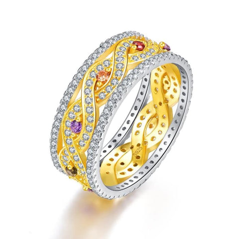 Infinity Love Collection Natural Amethyst Citrine And Emerald Ring - 6 / 925 Silver Ring - Ring