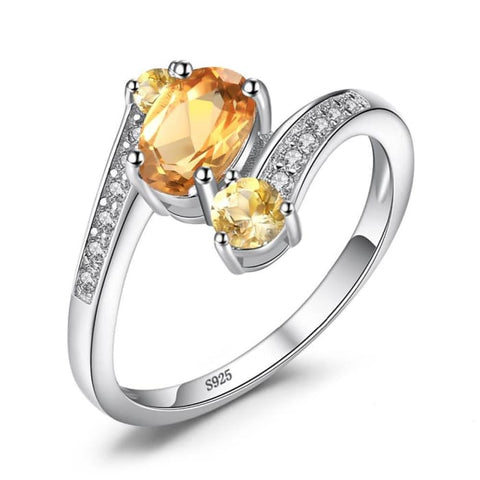 Interesting Ring With 3 Natural Yellow Citrine Gemstones And 12 Zircons - Ring