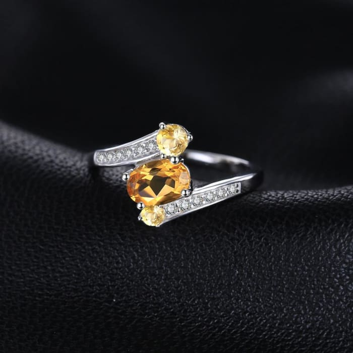 20fd5e26f3583 Interesting Ring with 3 Natural Yellow Citrine Gemstones and 12 Zircons