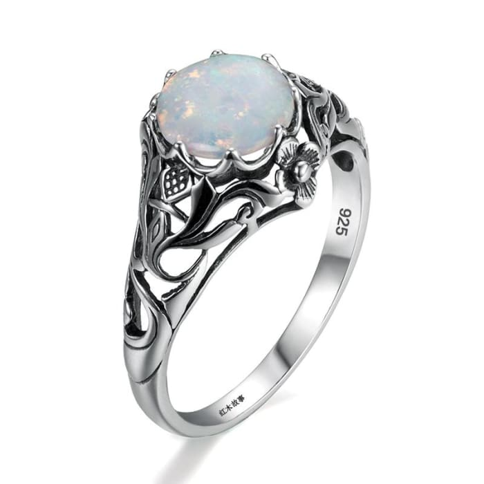 Lovely Handmade Vintage White Opal Gemstone Ring - Ring