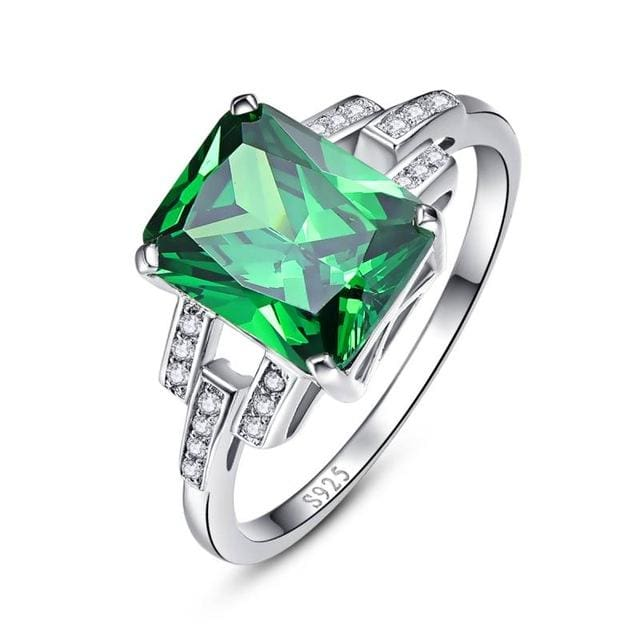 Luxury 10.75 Carat Green Emerald Sterling Silver Ring For Women - 6 / 925 Silver Ring - Ring