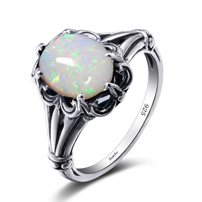 Luxury Handmade Oval Cut White Fire Opal Ring For Women - Ring