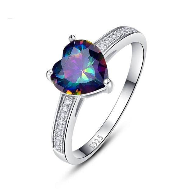 Luxury Heart Cut Classic Ring With Mystic Rainbow Topaz 3.2 Ct Gemstone For Women - 6 / 925 Silver Ring - Ring