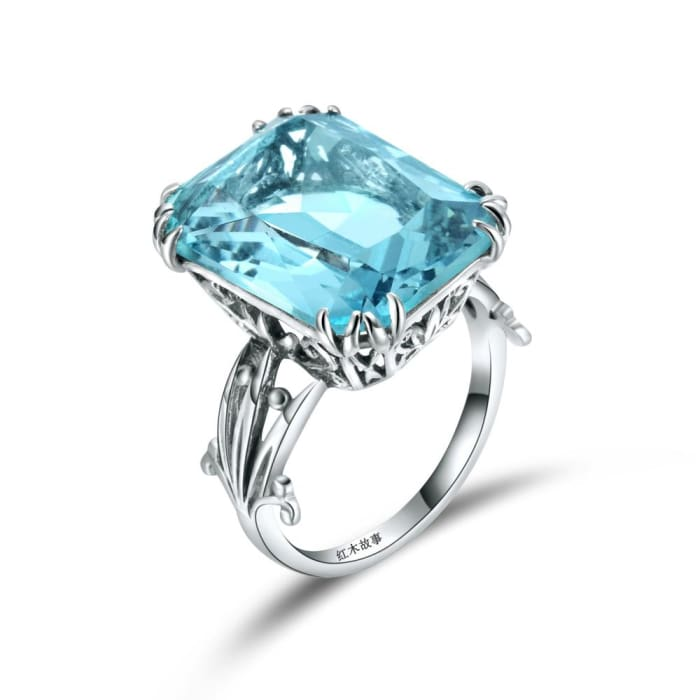 Luxury Square Shape Handmade Vintage Blue Aquamarine Gemstone Ring - Ring
