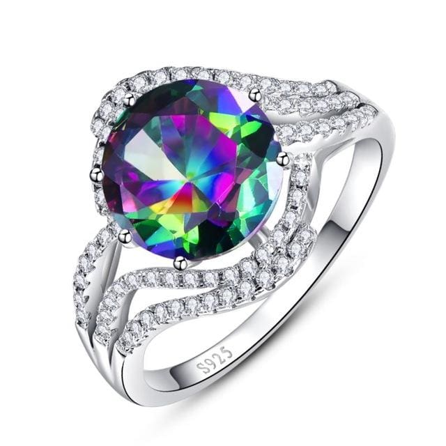 Modern Round Cut 5 Ct Genuine Gemstone Rainbow Fire Mystic Topaz Ring For Women - 6 / 925 Silver Ring - Ring