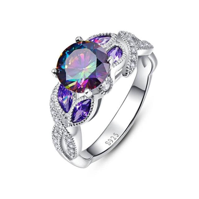 Mystical Rainbow Topaz Ring With Sapphire Gemstone - 6 / 925 Silver Ring - Ring