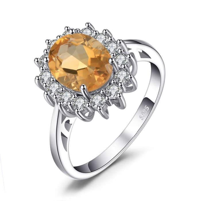 Natural 1.8 Carat Yellow Citrine Ring With 15 Zircons For Women - Ring