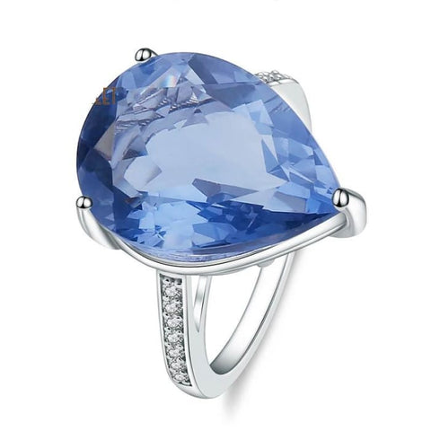 Natural 16.38 Carat Color Changing Blue Fluorite Gemstone Ring - Ring