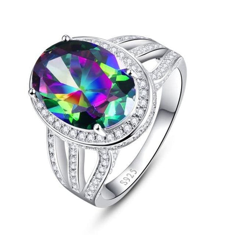 Oval 10.2 Ct Natural Stone Rainbow Topaz Gemstone Ring For Women - 6 / 925 Silver Ring - Ring