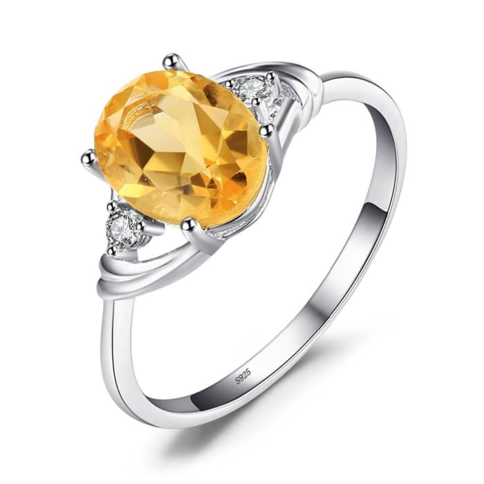 Oval Cut Natural Yellow Citrine 1.8 Carat Gemstone Ring For Women - Ring