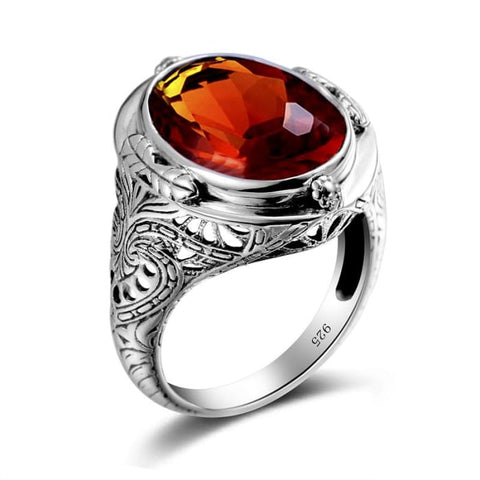 Oval Shape Vintage Brown Amber Gemstone Ring For Women - Ring