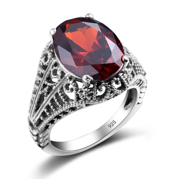 Oval Shape Vintage Collection Red Garnet Gemstone Ring For Women - Ring