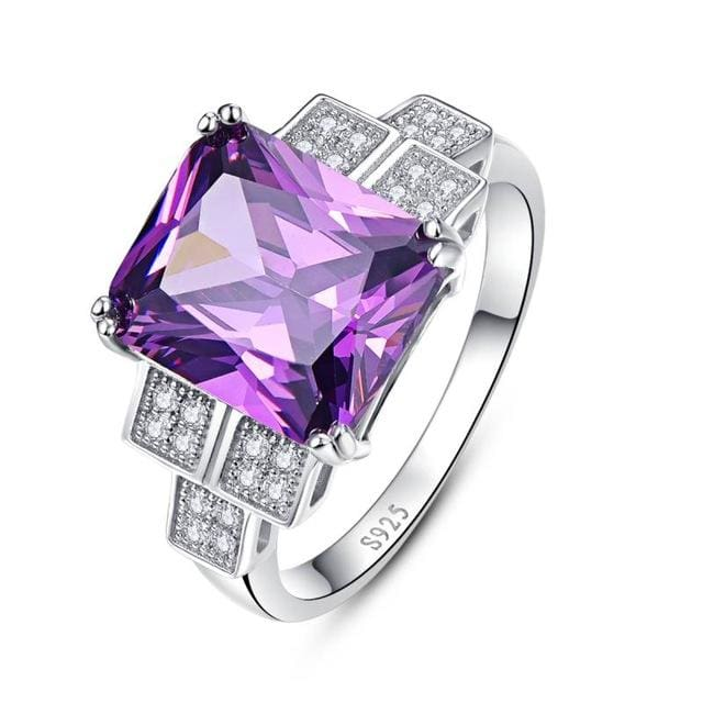 Plant Natural Purple Amethyst 9.8 Ct Ring For Women - 6 / 925 Silver Ring - Ring
