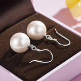 Beautiful Sterling Silver White and Pink Pearl Drop Earrings
