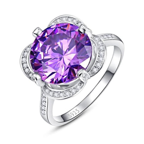 Purple Amethyst Natural Gemstone Round Cut Ring - 6 / 925 Silver Ring - Ring
