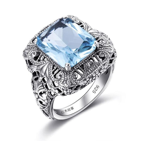 Retro Aquamarine Blue Gemstone Crystal Ring For Women - Ring