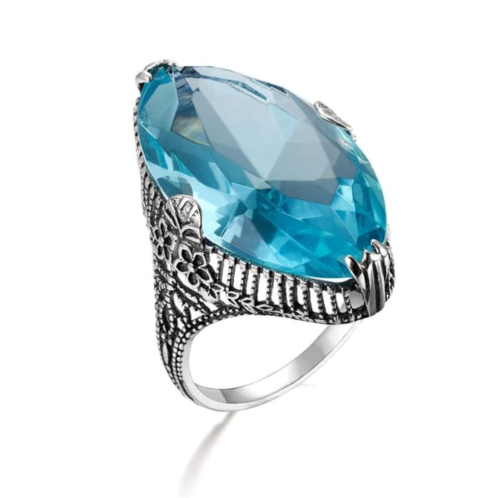 Royal Vintage Exaggerated Ring With Big Oval Blue Aquamarine Gemstone - Ring