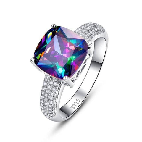 Square Rainbow Mystic Topaz Ring With 7.3 Ct Gemstone For Women - 6 / 925 Silver Ring - Ring