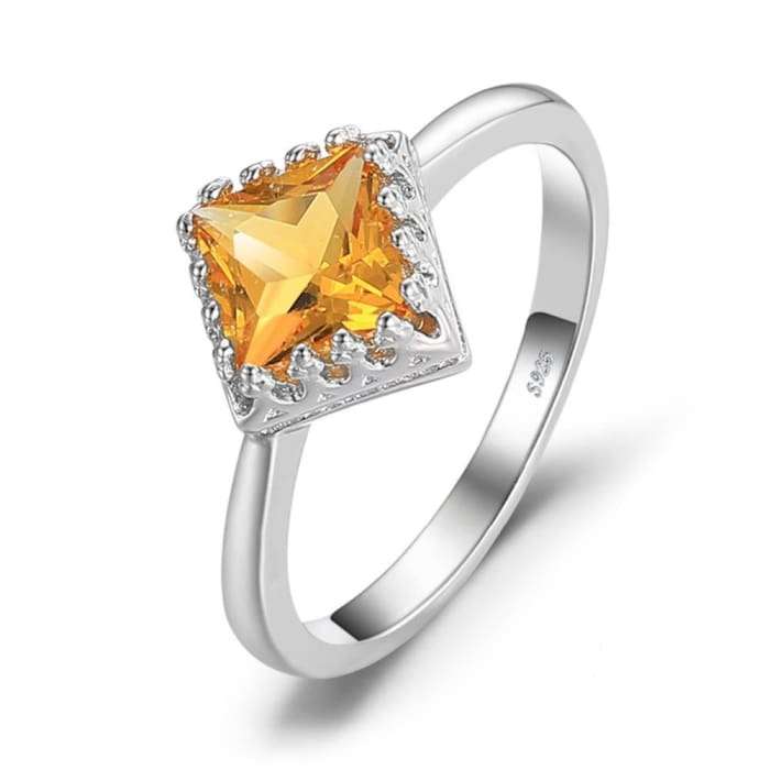 Square Shaped 1.4 Carat Natural Yellow Citrine Gemstone Ring - Ring