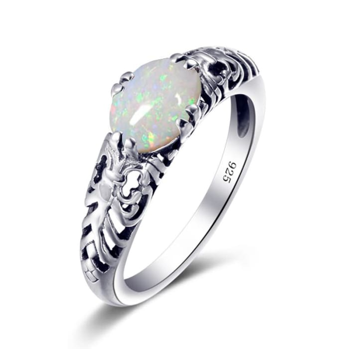 Top Quality Vintage White Fire Opal Gemstone Ring - Ring