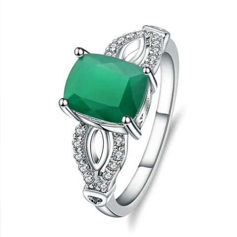 Trendy 2.2 Carat Natural Green Agate Gemstone Ring - Ring