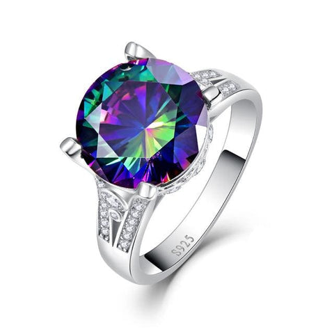 Trendy Round Cut 10.5 Ct Rainbow Topaz Ring For Women - 6 / 925 Silver Ring - Ring