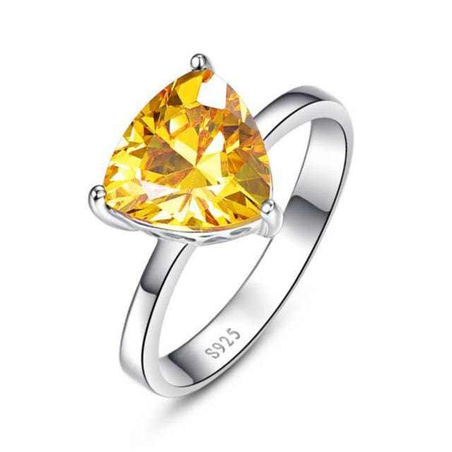 Triangle Shaped 5.95 Carat Natural Citrine Gemstone Ring - 6 / 925 Silver Ring - Ring