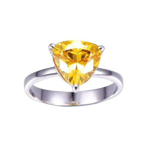 Triangle Shaped 5.95 Carat Natural Citrine Gemstone Ring - Ring