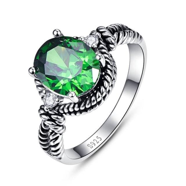 Vintage 4.35 Carat Round Green Emerald Ring For Women - 6 / 925 Silver Ring - Ring