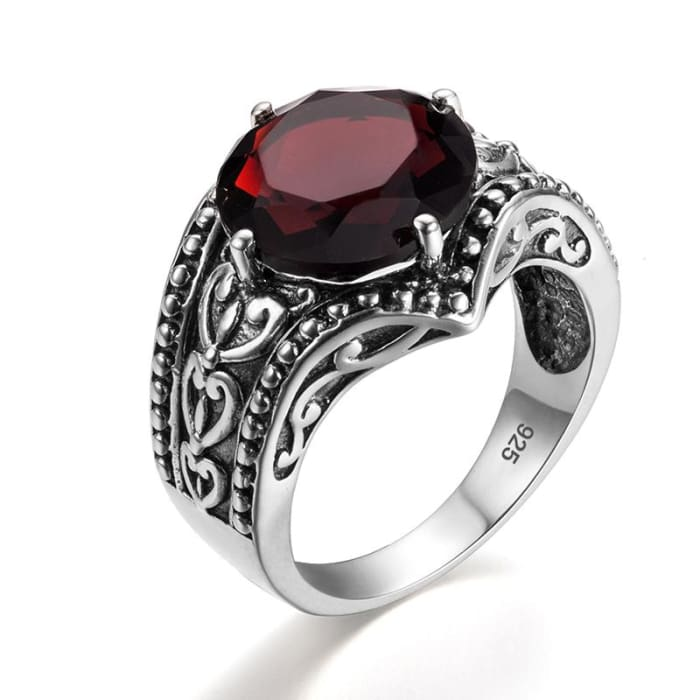 Vintage Art Ring With Round Shape Red Garnet Gemstone - Ring