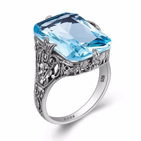 Vintage Baroque Square Cut Blue Aquamarine Gemstone Ring For Women - Ring
