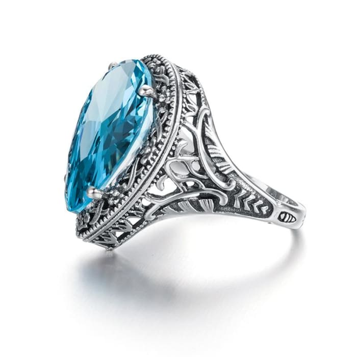 Vintage Baroque Style Water Drop Blue Aquamarine Gemstone Ring For Women - Ring