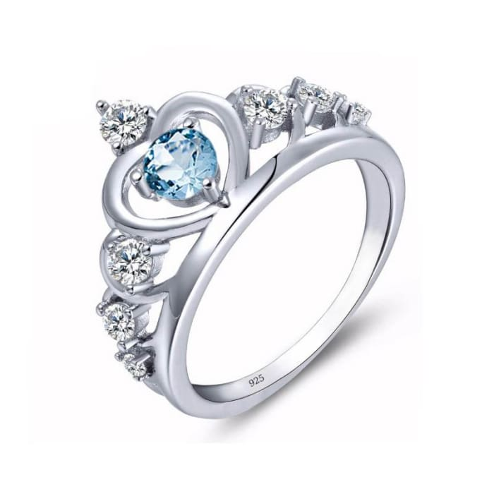 Vintage Blue Aquamarine Gemstone With White Gold Ring For Women - Ring